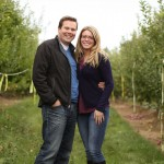 Posing in the apple orchard